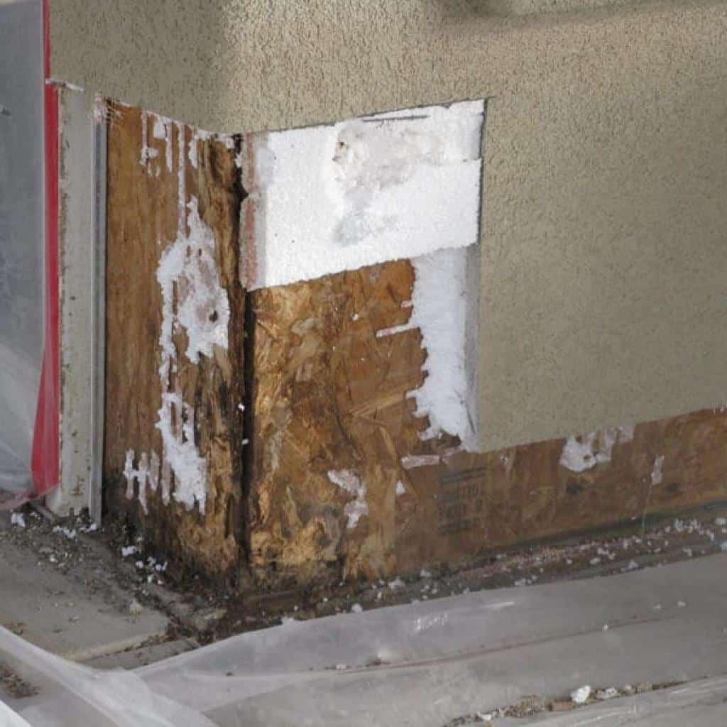 water leak and moisture damage repair on stucco